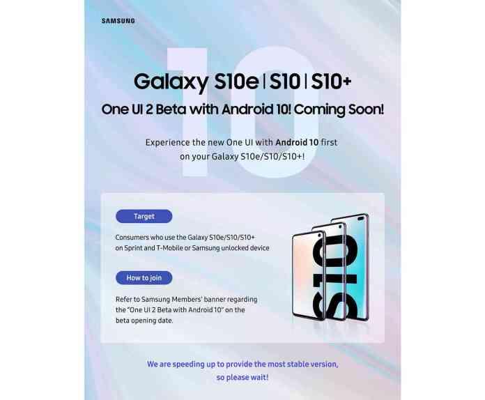 Samsung Galaxy S10 Android 10 beta U.S.