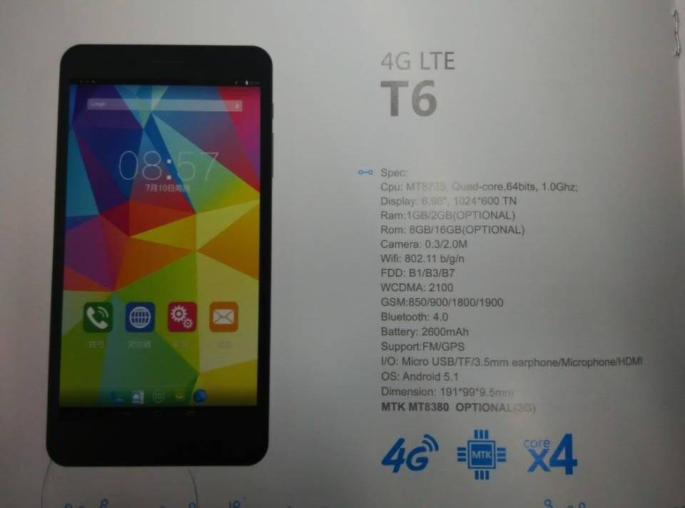 Cube T6 : Phablette 4G Android 5.1 sous MT8735 !