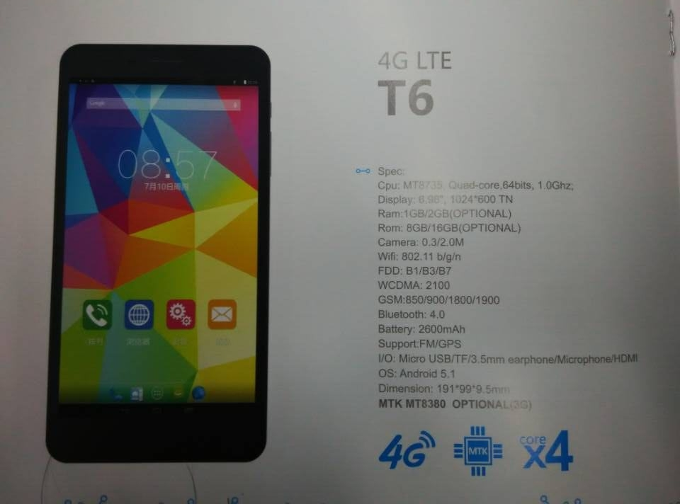 Cube T6 : Phablette 4G Android 5.1 sous MT8735 !