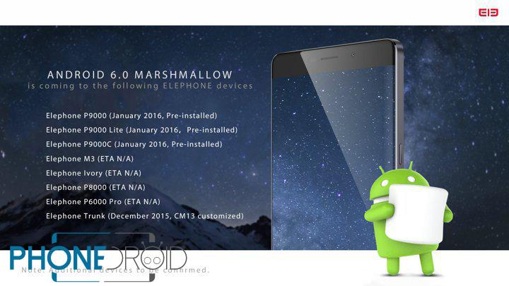 Liste Des Appareils Elephone Mis A Jour Vers Android 6