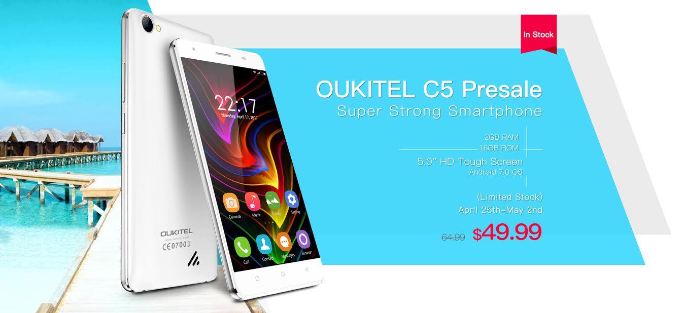 Oukitel C5 : Androïd 7.0 et précommandes à 49,99$