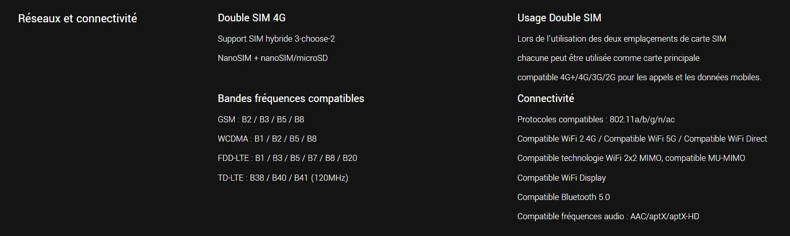 Réseaux et connectivités du Pocophone F1