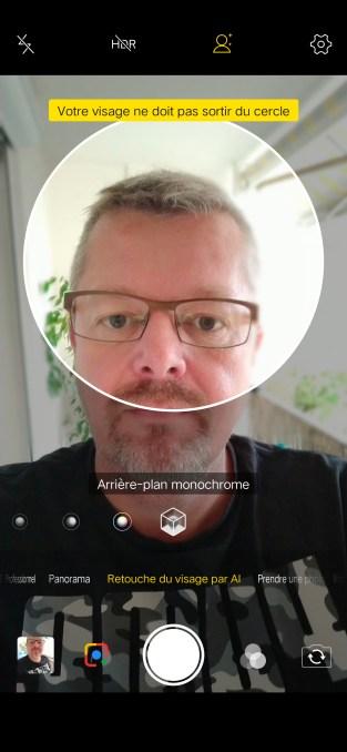 Mode selfie avec réglages