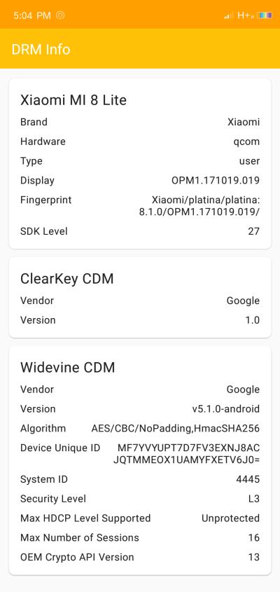 DRM Widevine sur le Xiaomi MI 8 Lite