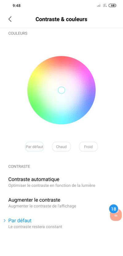 Réglages des contrastes et couleurs