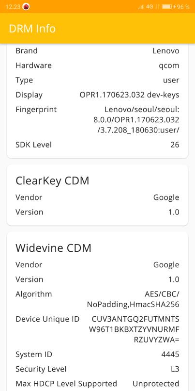 DRM Widevine sur le Lenovo S5