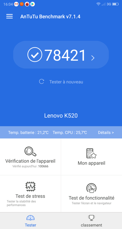 Score Antutu du Lenovo S5
