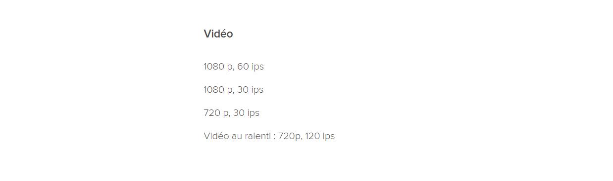 Caractéristiques vidéo du Redmi 7