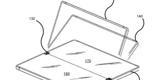 Illustrations from two Microsoft patents related to its foldable Windows device
