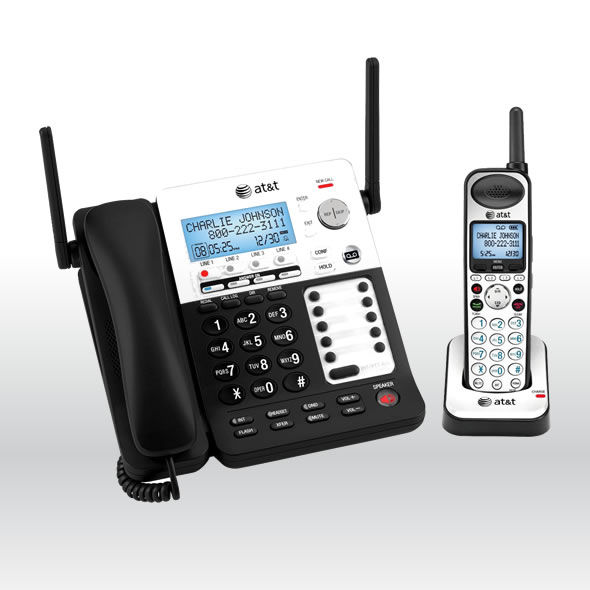 AT&T SB67118 4 Line Corded Cordless Intercom Paging Music On Hold Phone System bg