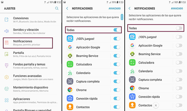 desactiva notificaciones android