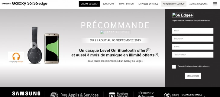 Samsung France: Galaxy S6 edge+ to go on pre-order on August 21