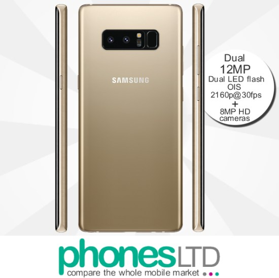 Cheapest Samsung Galaxy Note 8 Gold EE Unlimited + 1GB at £18 (24 ... 02e2c31f827b