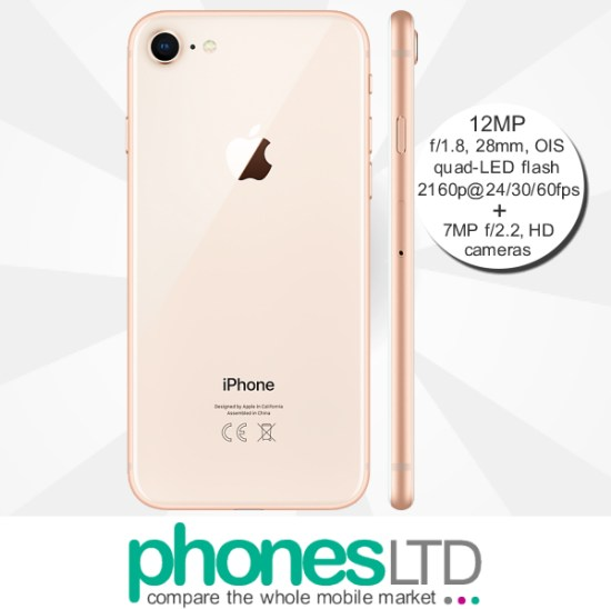 8787fc14f Cheapest Apple iPhone 8 256GB Gold giffgaff Unlimited + Unlimited + ...