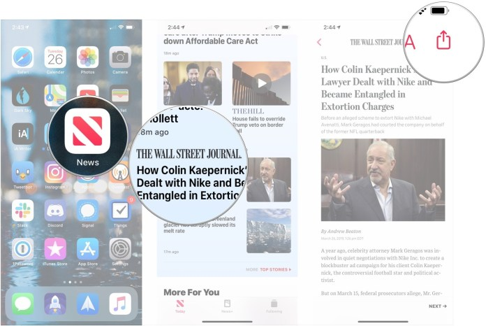 Open News, tap article, tap share