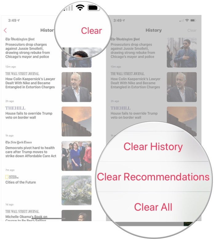 Tap Clear, tap Clear History, Clear Recommendations, or Clear All