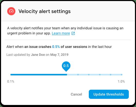 Firebase velocity settings