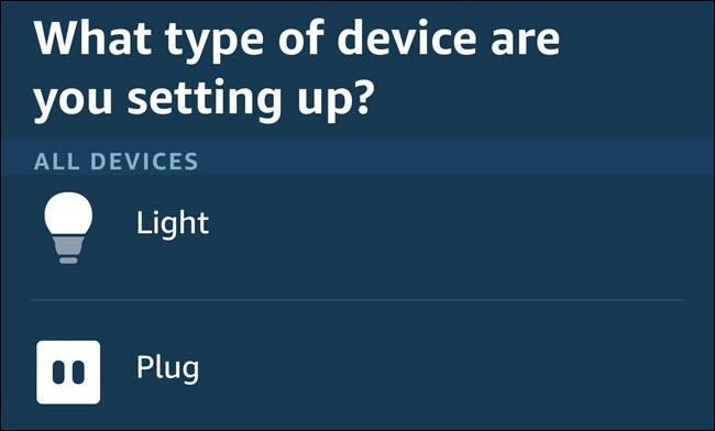 The device setup menu in the Alexa app.