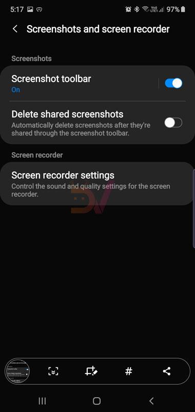 disable screenshot toolbar