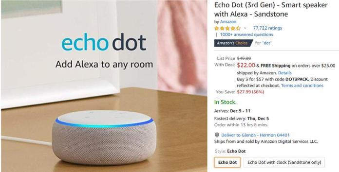 Cyber Monday Amazon Echo Dot deals, Cyber Monday best smart speaker deals,