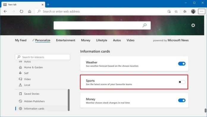 Microsoft Edge remove information cards