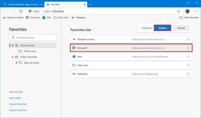 Microsoft Edge delete favorite or folder