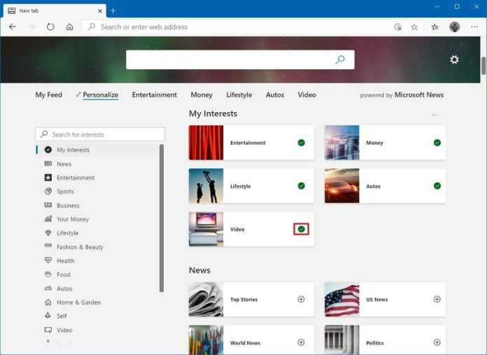 Microsoft Edge new tab my interests settings