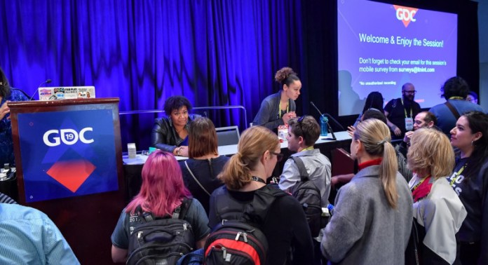 Speakers and attendees interact at GDC 2019.
