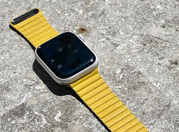 Meyer Lemon Leather Loop on Apple Watch