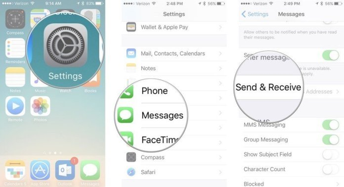 Change iMessage Apple ID, showing how to open Settings, then tap Messages, then tap Send & Receive