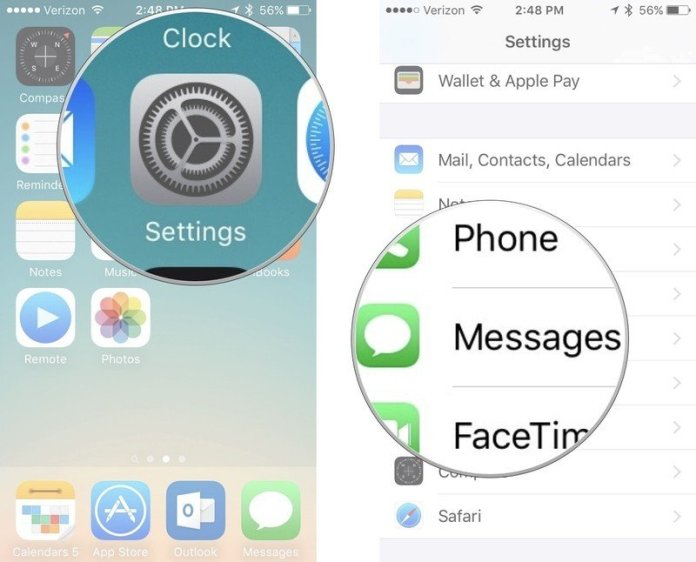 Remove email address from iMessage, showing how to open Settings, then tap Messages