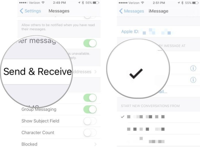 Remove email address from iMessage, showing how to tap Send & Receive, then tap the email address you want to disable for iMessage so that the check mark disappears