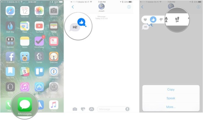 How to change Tapbacks in Messages showing how to tap and hold on a message to which you've attached a Tapback, then tap the new Tapback you want to use
