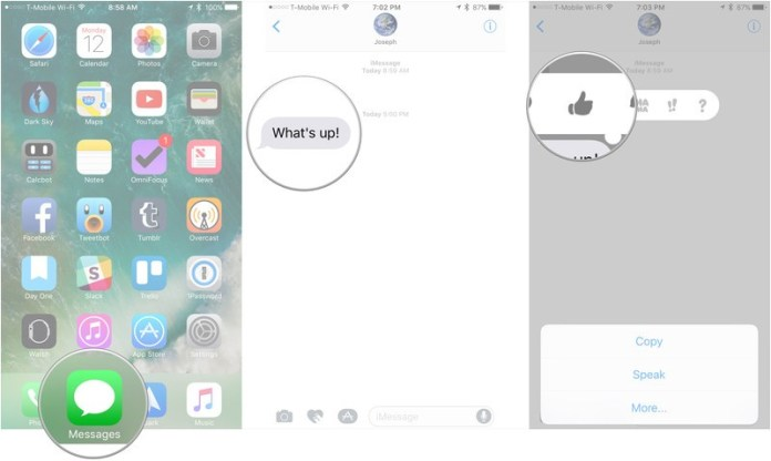 How to use Tapbacks in Messages, showing how to open messages, tap and hold on a message sent to you, then tap on the Tapback you want to send