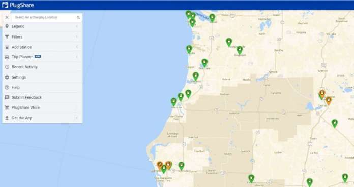 According to the electric vehicle charging map on plugshare.com, there are several options for charging in Manistee and surrounding towns. (Plugshare.com screenshot)