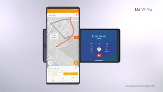 LG Wing navigation and phone