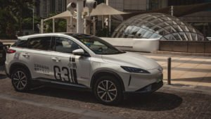 Image of Xpeng's (XPEV) G3 electric SUV outside a mall in China