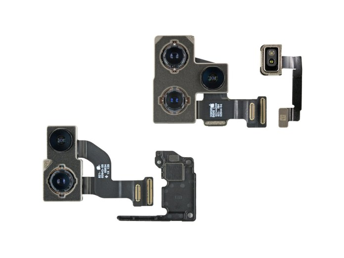 The iPhone 12 and Pro cameras, as well as a camera spacer [via iFixit]