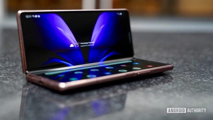 Samsung Galaxy Z Fold 2 laptop mode