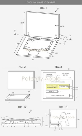 Apple patent reconfigurable keyboard macbook