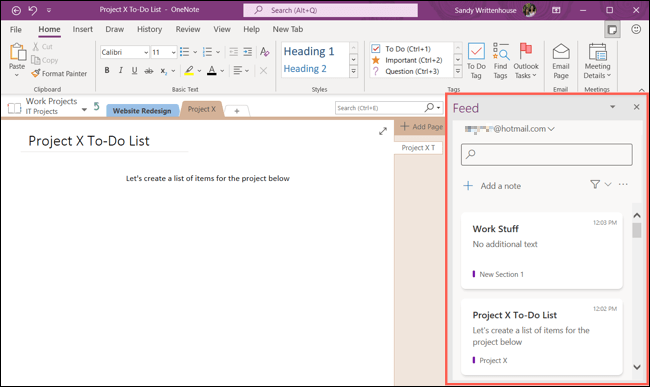 Feed pane in OneNote