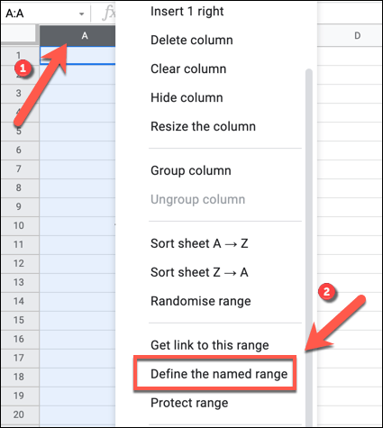 """To apply a new named range to a selected row or column, right-click the selected cells, then press the """"Define The Named Range"""" option."""