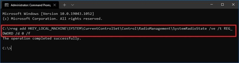 Disable Airplane mode via Command Prompt