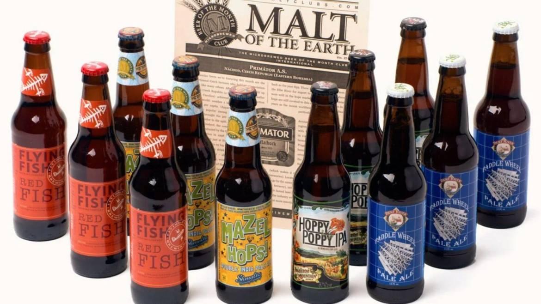 assortment of beer bottles in Beer of the Month Club