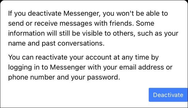 Deactivate Button for Facebook Messenger