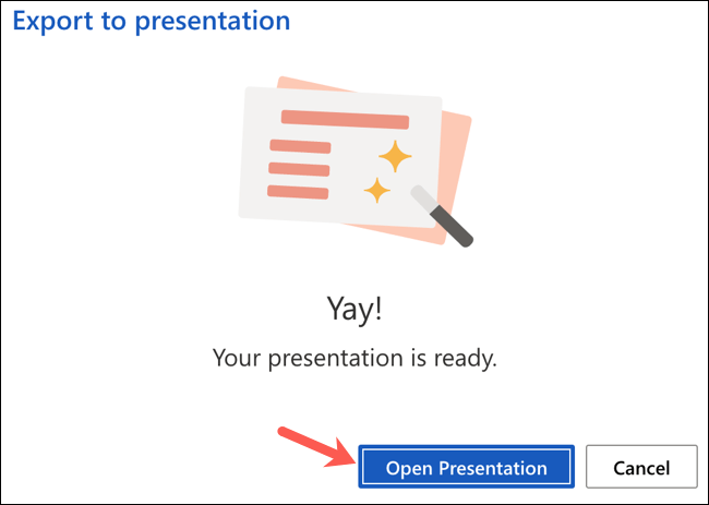 """Click """"Open Presentation"""" after converting the Word document"""
