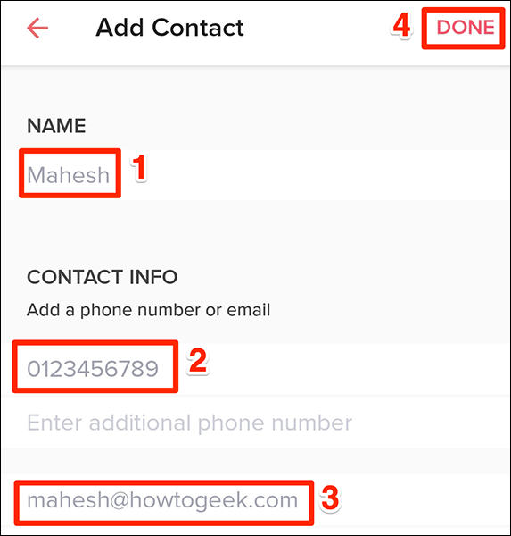 Manually enter a person's contact details in Tinder.