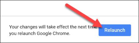 """Tap """"Relaunch"""" to restart Chrome."""