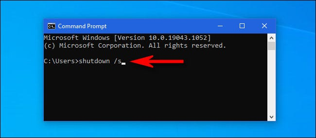 """In the Windows 10 Command Prompt window, type """"shutdown /s"""" and hit Enter."""