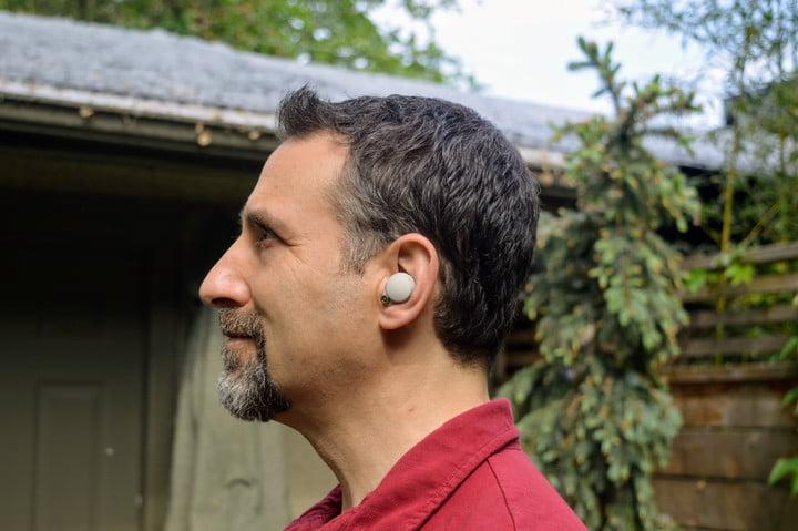 Sony WF-1000XM4 eabuds in a mans left ear.